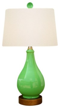 "Green Porcelain Vase Table Lamp 17"" - Contemporary - Table ..."