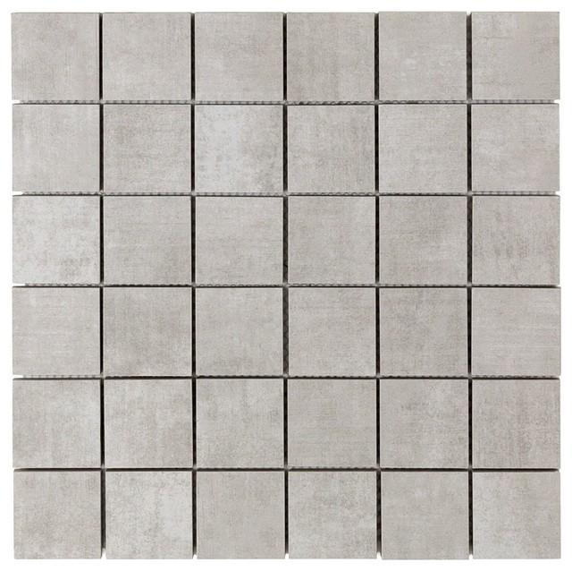 essential 2 x2 porcelain mosaic tile silver