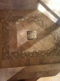 Tile shower floor with mosaic design. - Bathroom - Other ...