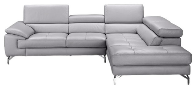 olivia premium leather sectional sofa element gray right hand facing chaise