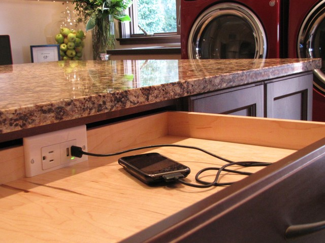 Drawer with charging station  Traditional  Laundry Room