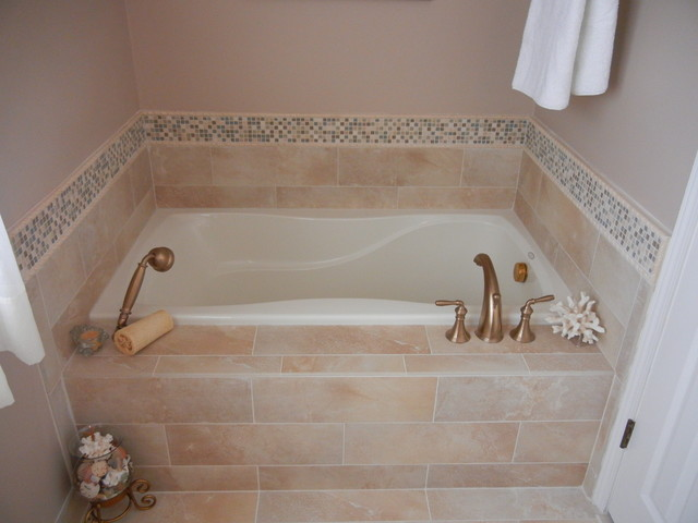 Custom Tile Garden Tub with Backsplash  Marietta GA