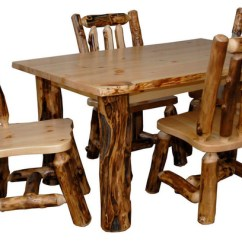 Set Of 4 Dining Chairs Tete A Chair Outdoor Rustic Aspen Log Kitchen Table With Sets By Furniture Barn Usa