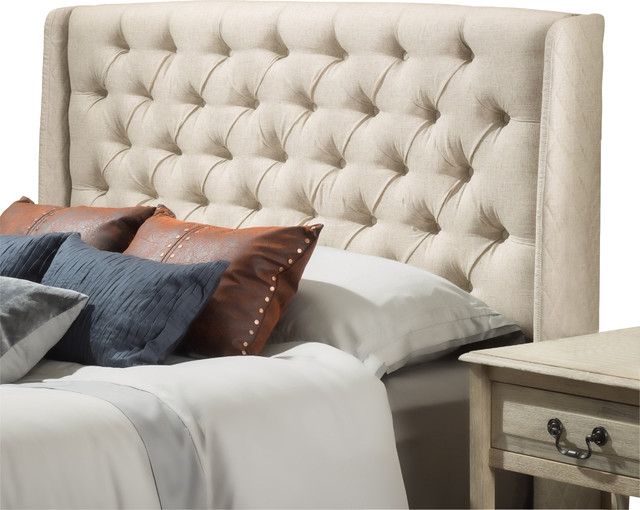 Allen Wingback QueenFull Tufted Fabric Headboard