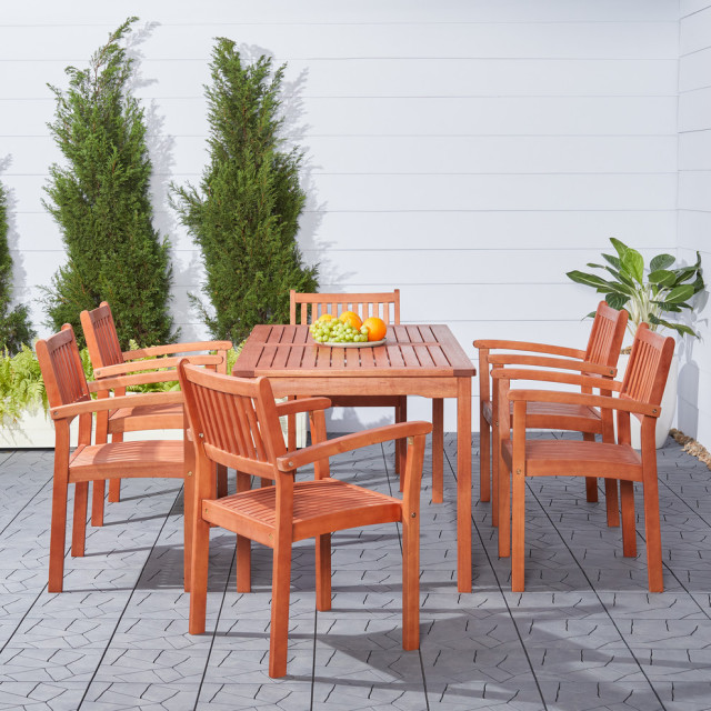 malibu eco friendly 7 piece wood outdoor dining set with stacking dining chairs