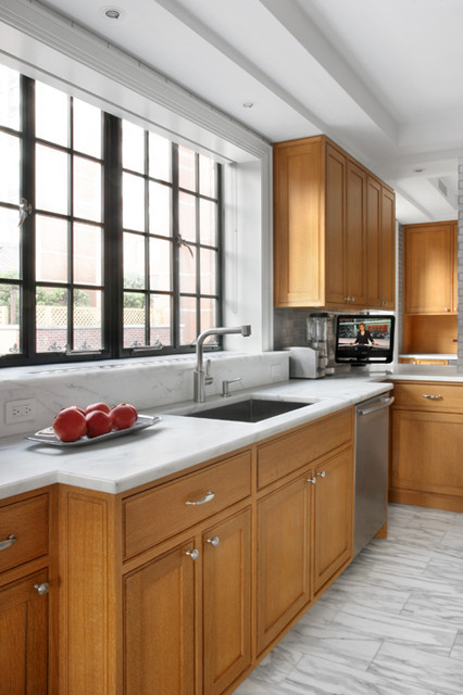 Kitchen with Cerused Oak Cabinetry and a Recycled Aluminum