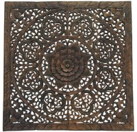 "Elegant Wood Carved Floral Bali Art Wall Panel, 48"", Set ..."