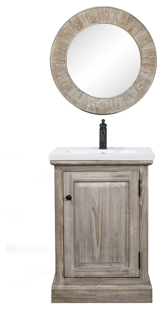 Rustic Style 24 Inch Bathroom Vanity With Ceramic Single Sink No Faucet Traditional Bathroom Vanities And Sink Consoles By Infurniture Inc