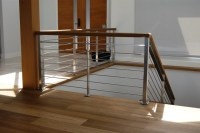 Oak & Stainless Steel Interior Railing - Contemporary ...