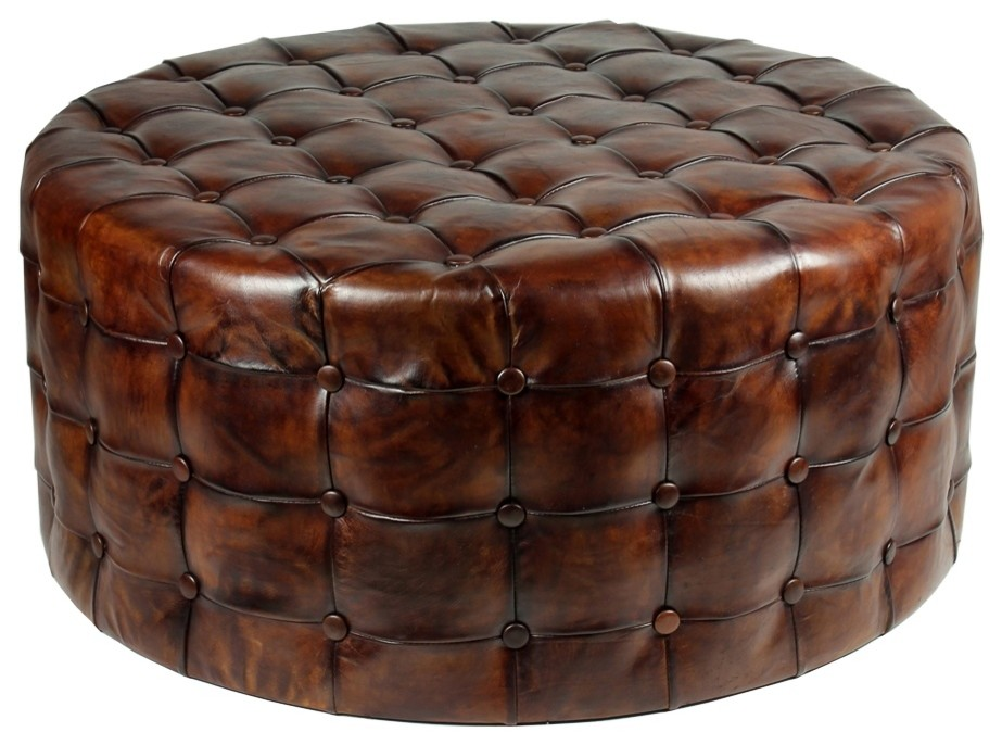 36 round ottoman top grain tufted buttery leather vintage brown special
