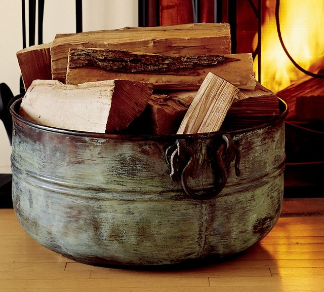 Copper Bucket  Traditional  Fireplace Accessories  by Pottery Barn
