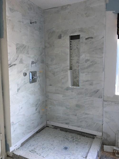 Master Bathroom Remodel  Mixing Carrara Marble and Wood