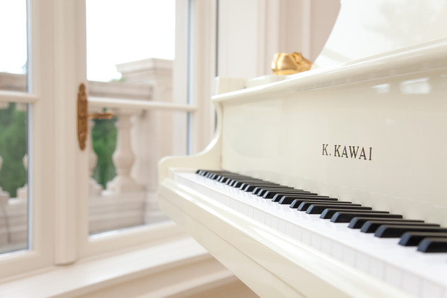 White K Kawai Grand Piano  Mediterranean  Staircase  Chicago  by Miller  Miller