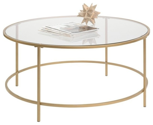 lux round coffee table in satin gold safety tempered glass top on metal frame