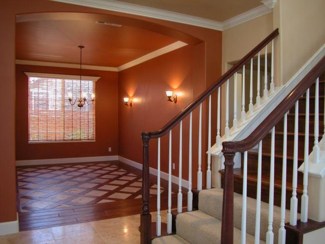 Wood with StoneTile Floor Combination  Transitional
