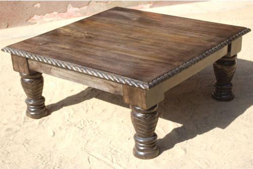 Unique Rustic Solid Wood Square Sofa Coffee Table