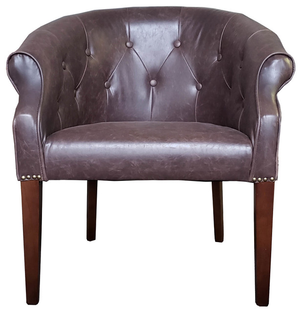 tub chair brown leather cream occasional chairs antique style with brushed silver studs distress