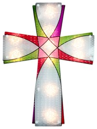 Lighted Holographic Religious Cross Easter Window ...