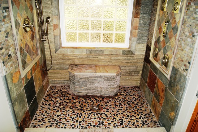 slate, river rock bathroom