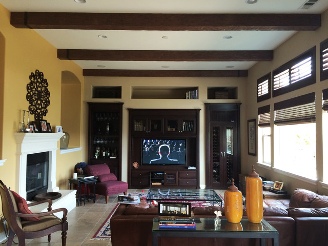 Living Rooms With Faux Wood Beams Transitional Living