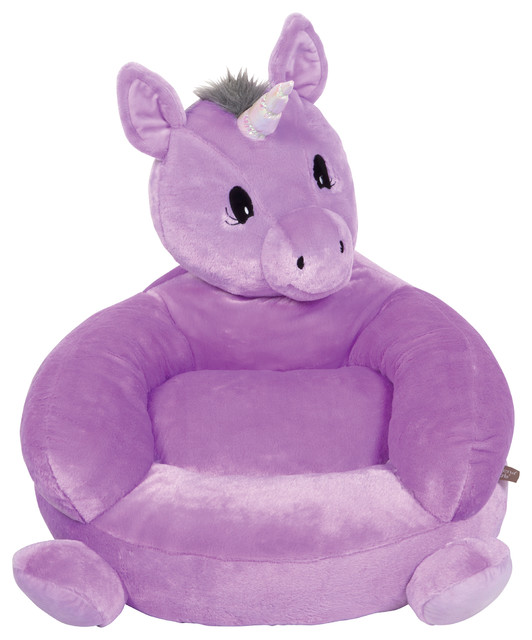 kids plush chairs chair stool with footrest trend lab children s unicorn character contemporary by