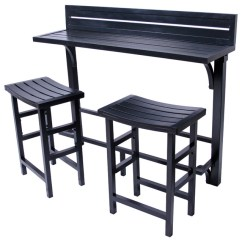 Pub Table And Chairs 3 Piece Set 2 Home Depot Chair Rail Molding Balcony Bar Contemporary Outdoor Bistro Onyx