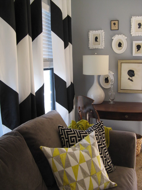 chevron living room curtains regency furniture 96 blue sitting features a pair silhouettes and curtain vignette eclectic