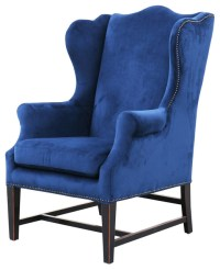 Gracie Art Deco Royal Blue Velvet Classic Wing Chair ...