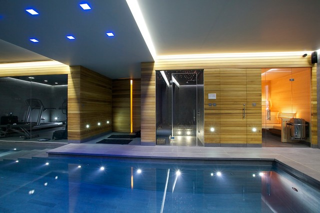 bamboo dining chairs how much is a hair salon chair indoor luxury swimming pool, surrey - modern pool new york by design guncast