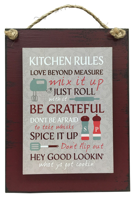Wooden Hearts  Sign 6x8 Kitchen Rules  View in Your