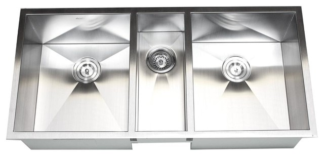 triple kitchen sink curtains cheap 42 stainless steel undermount zero radius bowl