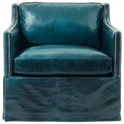 Accent Wingback Chairs Geriatric Chair For Elderly Kathy Kuo Home Britta Hollywood Regency Nailhead Blue Leather Skirted Armchair - Living Room ...
