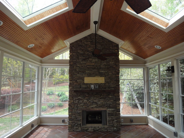 Raleigh Screen Porch With Fireplace Traditional Porch