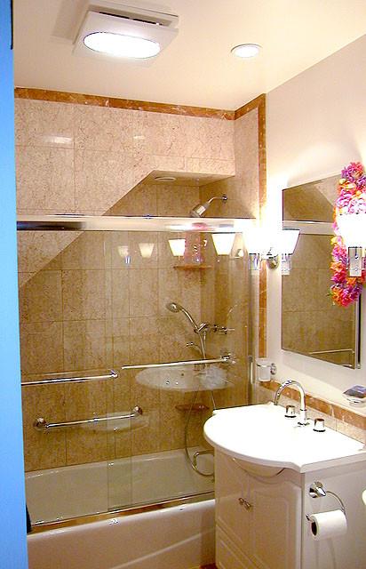 Lower Unit  Shower and bathtub tucked under stair  Contemporary  Bathroom  San Francisco