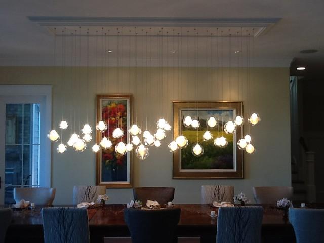 Kadur Chandelier Over Dining Room Table Custom N Glass Modern Contemporary
