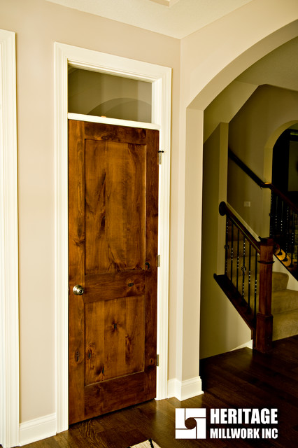 Knotty Alder Stained Dark With White Trim Traditional Hall Minneapolis By Heritage