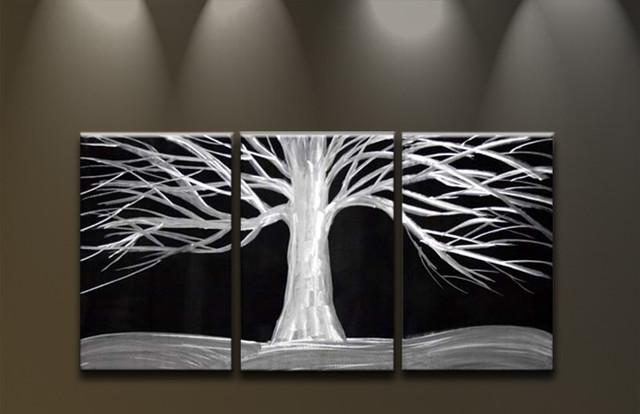 Metal Wall Art White Tree On Black
