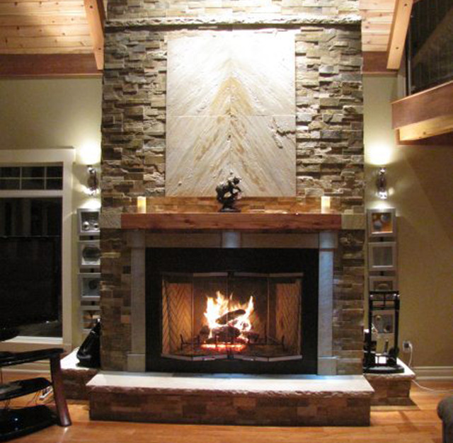 Zen Inspired Stone Fireplace  Contemporary  Living Room