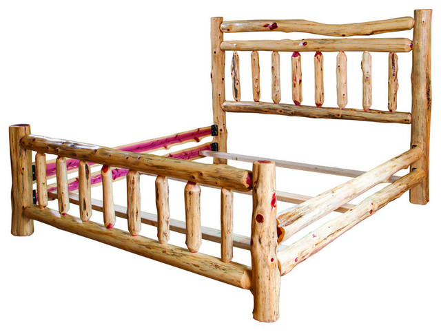 rustic red cedar log bedroom set king bed 4 drawer dresser and nightstand