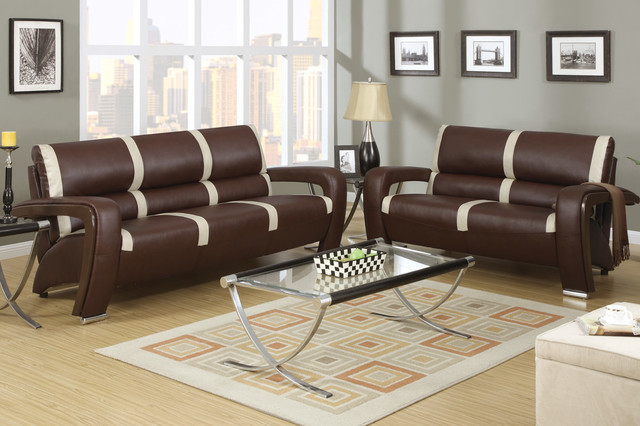 - Modern Brown Ivory Leather Sofa Couch Loveseat Living