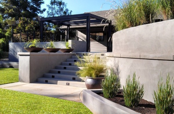 concrete retaining walls and wood