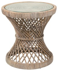 East At Main's Shively Brown Round Rattan Accent Table ...