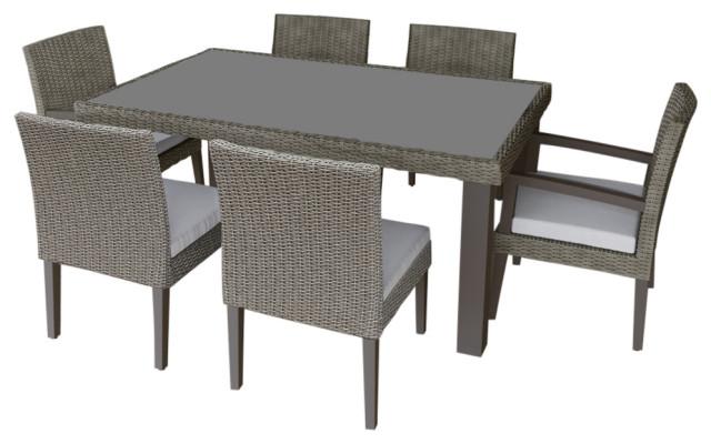 martha stewart oakland 7 piece aluminum frame gray rectangular patio dining set