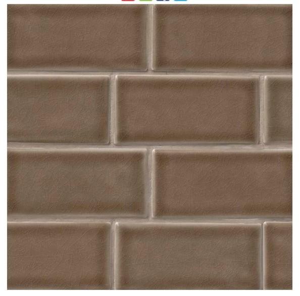taupe crackle glazed subway tile mosaic backsplash kitchen bath shower 3 x6