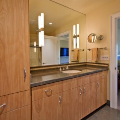 Kohler Undermount Kitchen Sink Lighting In Master Bathroom With Euro-style Custom Cabinets - Modern ...
