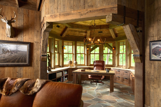 Highcroft Hunting Barn Rustic Home Office & Library
