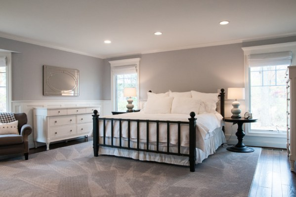 grey and white contemporary bedroom Modern White and Light Gray Master Bedroom - Modern