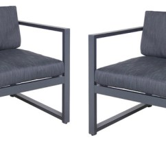 Outdoor Aluminum Chairs White Leather Accent Chair Canada Wally Club Set Of 2 Dark Gray And Black Contemporary Lounge By Gdfstudio