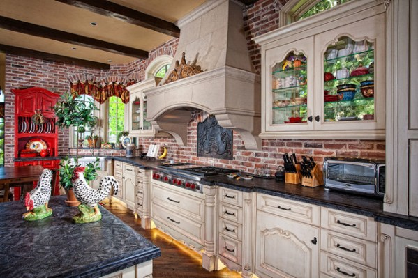rustic french country kitchen backsplash Laguna Hills Country French Manor - Mediterranean