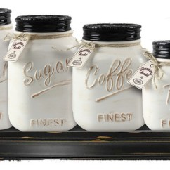 Kitchen Canister Modern Island Lighting 4 Piece Mason Jar Ceramic Set